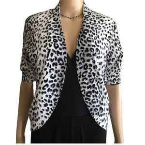 New Directions Shrug in Snow Leopard print